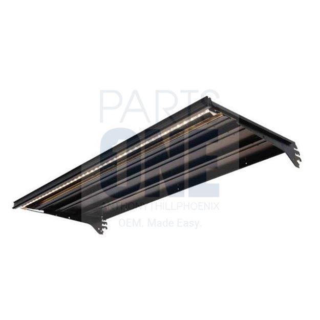 """Picture of 14""""x 36"""" Lighted Shelf Painted Matte Black w/ 1.25"""" Price Tag Molding"""